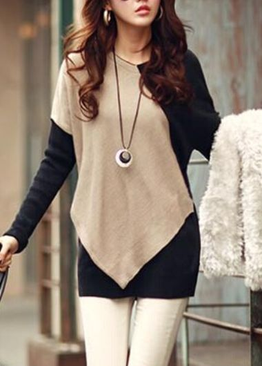 Fashionable Batwing Sleeve Color Block Tee for Autumn
