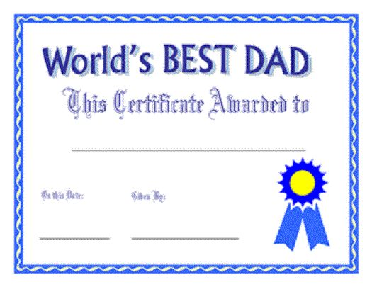Printable World's Best Dad Certificate of Father's Day Wishes