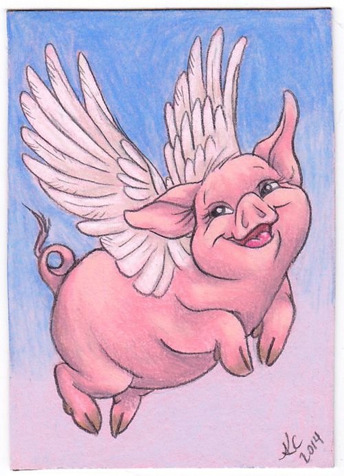Flying pig ACEO. Colored pencils. ©2014 Keela Cleghorn