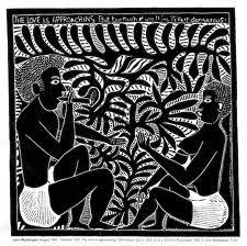 john muafangejo - pattern in leaves. Bij deze linosnede is gebruik gemaakt van één kleur. De linoafdruk is heel erg gedetailleerd. Dat is knap voor deze techniek. De afbeelding is een Afrikaanse/Indiaanse afbeelding, dat zie je aan de manier van afbeelden van de personages, alleen een broekje, kort haar, geen kloppende verhoudingen. Er gebeurt veel op de afdruk, en het is interessant om naar te kijken.