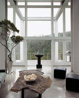 10 Gravity-Defying Cantilevered Homes - Photo 19 of 23 - The living room looks out toward the two waterfalls that are also part of the property and the inspiration for its name. Artist Constantin Hapaianu made the coffee table and the stainless steel railings surrounding the staircase.