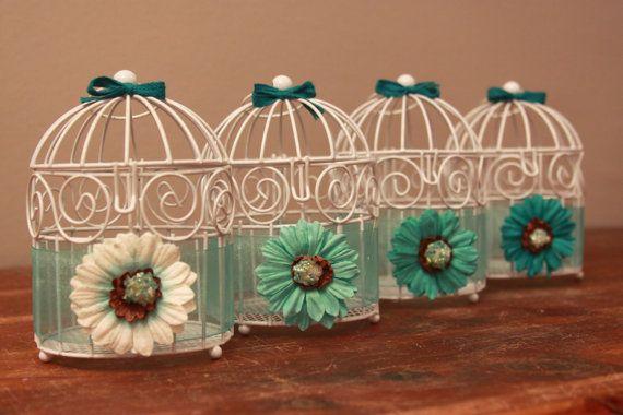 Mini Bird Cage Centerpiece - Teal Tealight Holder - Wedding Birdcage - Flower Walkway Lantern