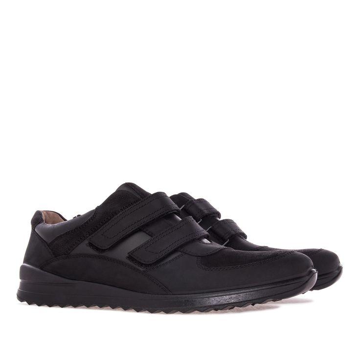 Zapato de estilo Deportivo combinado en Piel y Nubuck grabado Negro. Pespuntes…