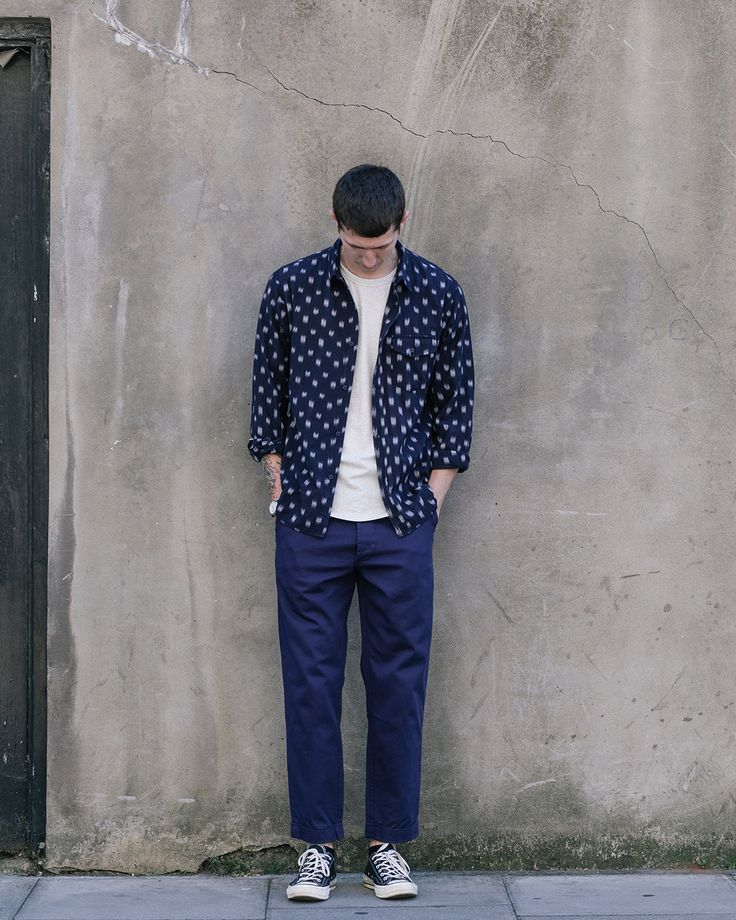 Robin from HQ wearing our Ikat Shirt, Pocket Tee and Work Blue Suit Pants