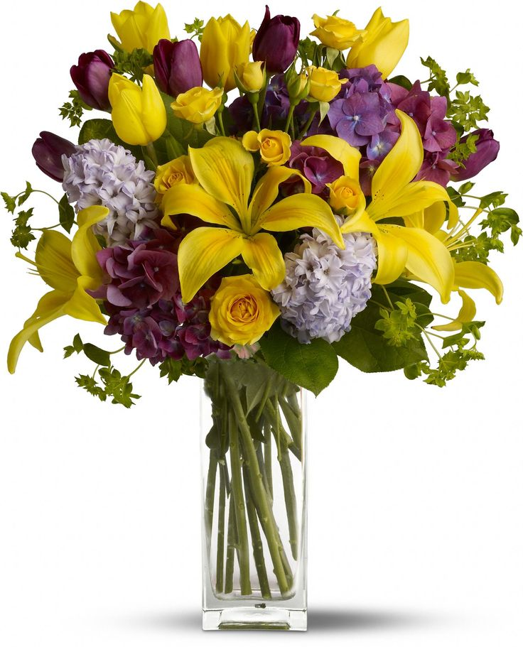 44 best easter spring bouquets images on pinterest flower telefloras spring equinox let the spring celebration begin with purple hydrangea and tulips yellow spray roses and even more tulips along with sunny mightylinksfo