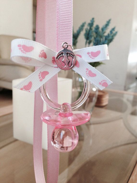 Pink Footprints BabyShower Pacifier Necklace (pack of 12) LIMITED TIME SALE on Etsy, $9.99