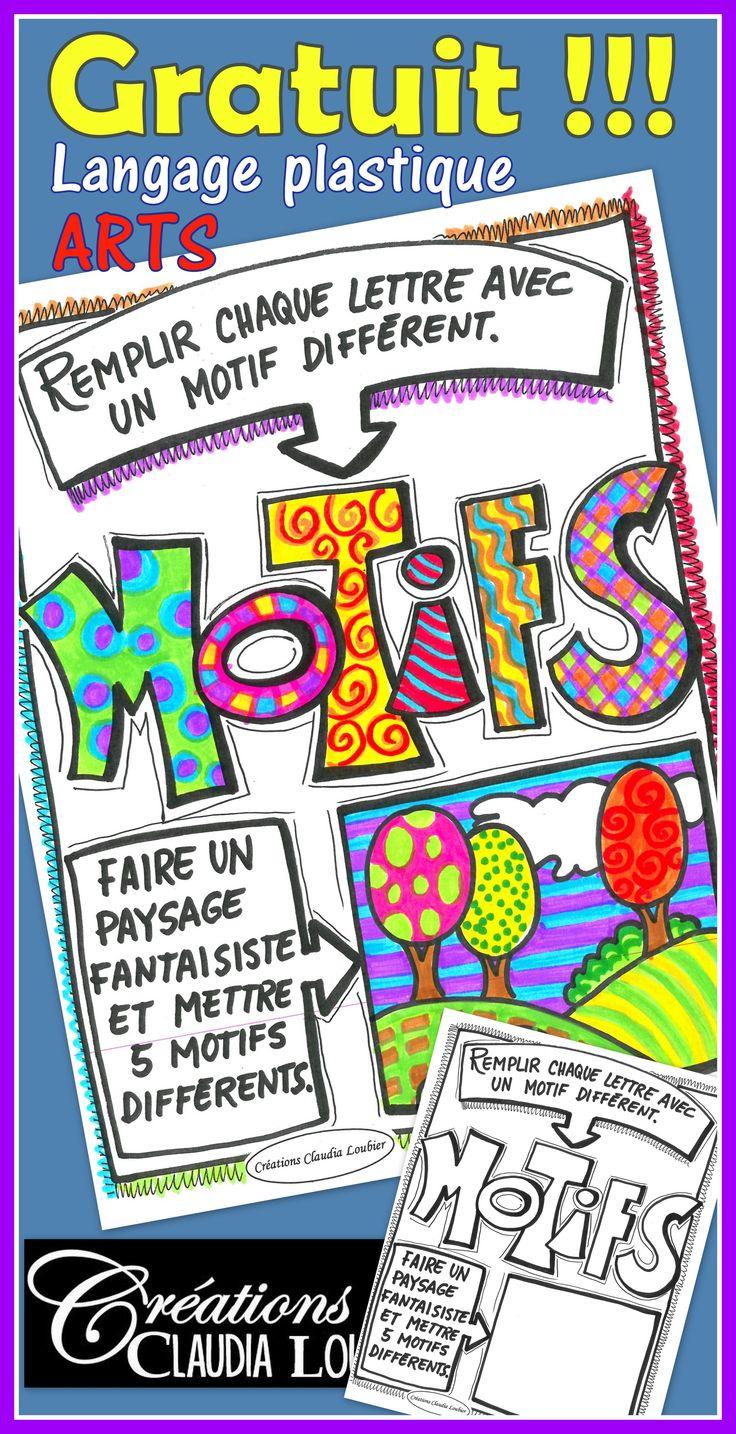 Document gratuit ! Arts plastiques au primaire. Il me fait plaisir de vous partager gratuitement ce document pour la révision de la notion des motifs en arts plastiques. Pour 1er, 2e et 3e cycle. Ce document fait partie d'un ensemble de 10 exercices sur le langage plastique des arts au primaire.