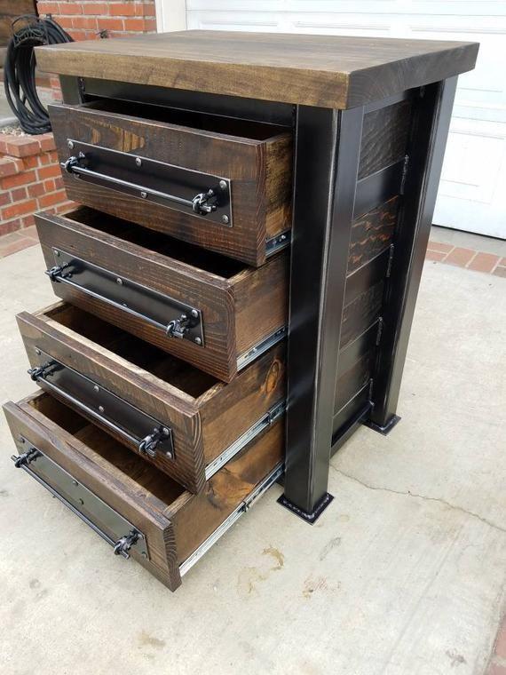 Chest Of Drawers Storage Dresser Heavy Duty Blackened Steel Frame With Hardwoo Vintage Industrial Furniture Industrial Design Furniture Industrial Furniture