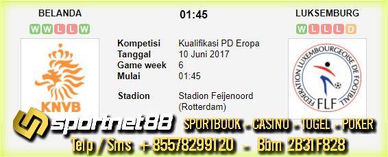 Prediksi Skor Bola Belanda vs Luksemburg 10 Jun 2017 Kualifikasi PD Eropa di Stadion Feijenoord (Rotterdam) pada hari Sabtu jam 01:45