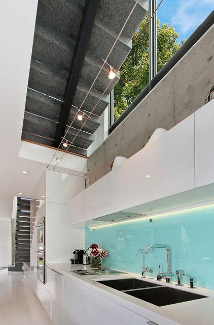Illuminated Glass backsplash contemporary kitchen by Jeri Koegel Photography