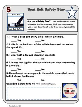 This activity challenges students to assess their seat belt safety habits while riding in vehicles. Mini Lesson Procedure:Use this safety checklist as the basis for a mini-lesson on passenger safety.  Ask students to complete the safety checklist individually.