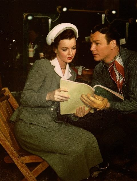 Dale Evans and Roy Rogers preparing for a film.