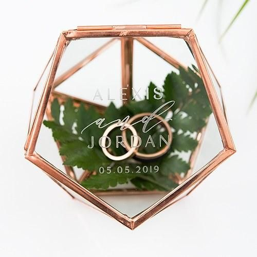 Geometric Rose Gold Wedding Ring Box