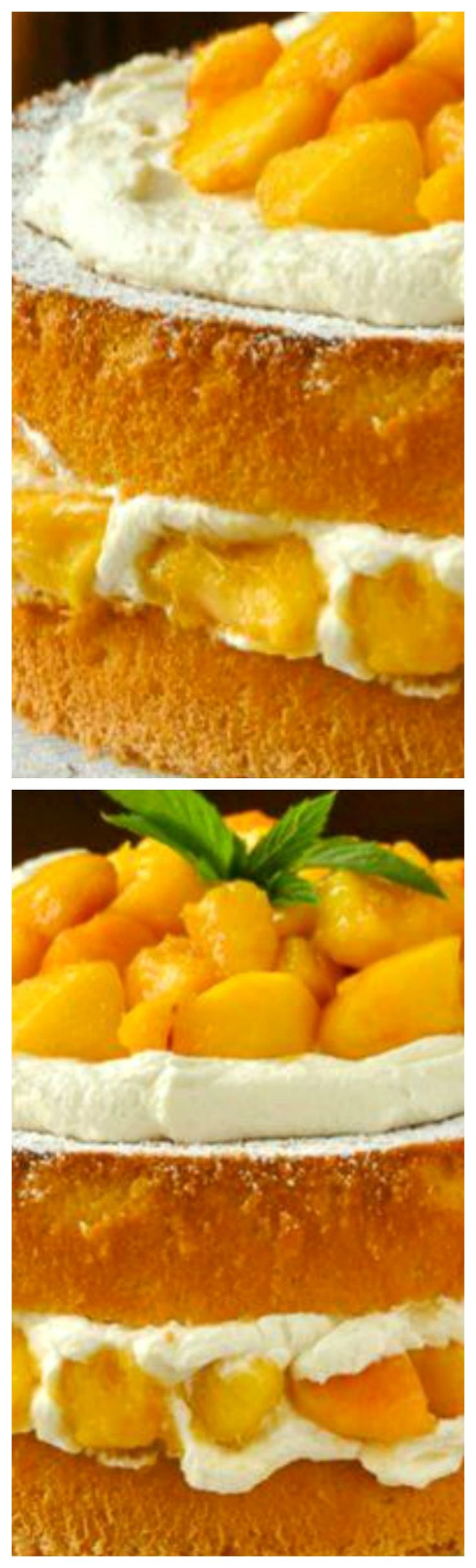 Bourbon Peach Shortcake ~ A light as air sponge cake gets layered with vanilla whipped cream and peaches which have been marinated in vanilla and bourbon.