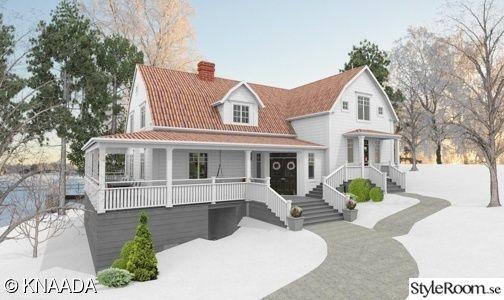 fasad,new england,utbyggnad,vitt hus,hälsingland,20-tal,porch,balkong,altan,terass,villa,liggande panel,rött tegel
