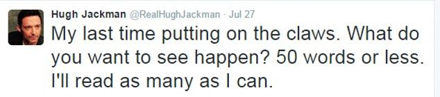 Hugh Jackman asks his Twitter fans to weigh in on his last ever Wolverine movie