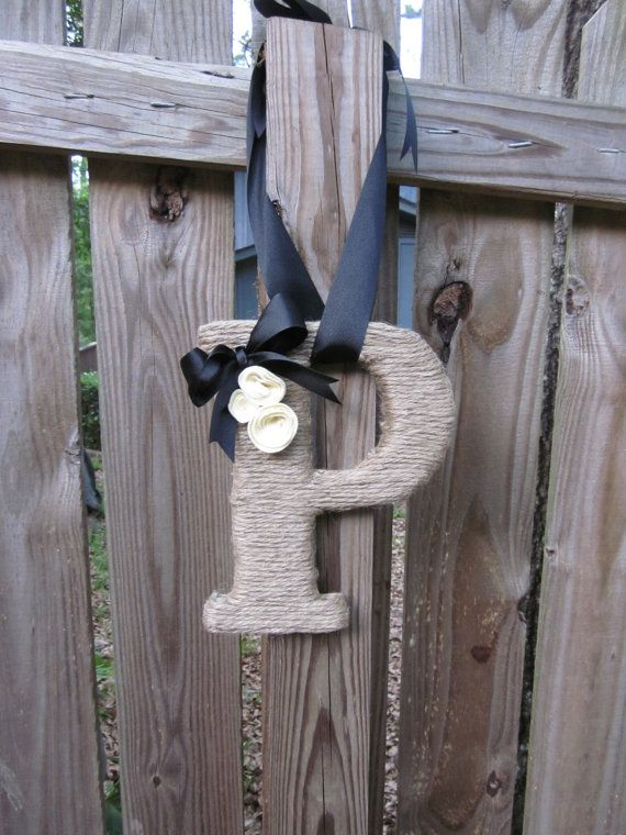 Jute Twine Wrapped Letter Monogram Initial Made by lollyjodesigns, $22.00