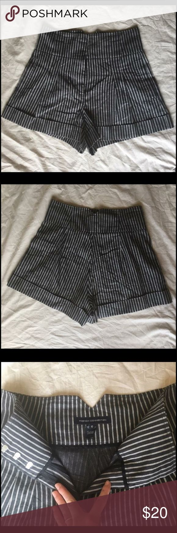 French Connection High Waisted shorts FCUK size 10 French Connection High Waisted shorts FCUK size 10. Black and white pinstripe, triple clasp and zipper front closure. Pleated and cuffed. Side hip pockets. French Connection Shorts