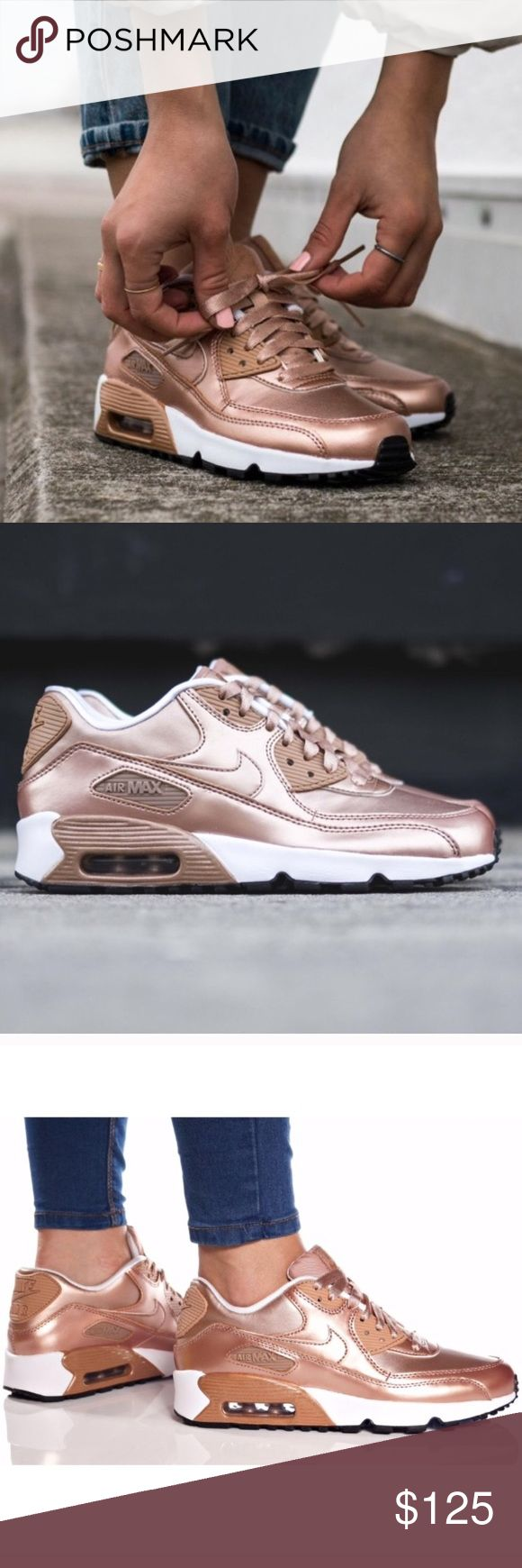 Nike air max 90 metallic bronze rose gold shoes Brand new size 5 youth which converts to a women's size 6.5. I will list a sizing chart for reference. No box. Ships same day or very next. Nike Shoes Sneakers