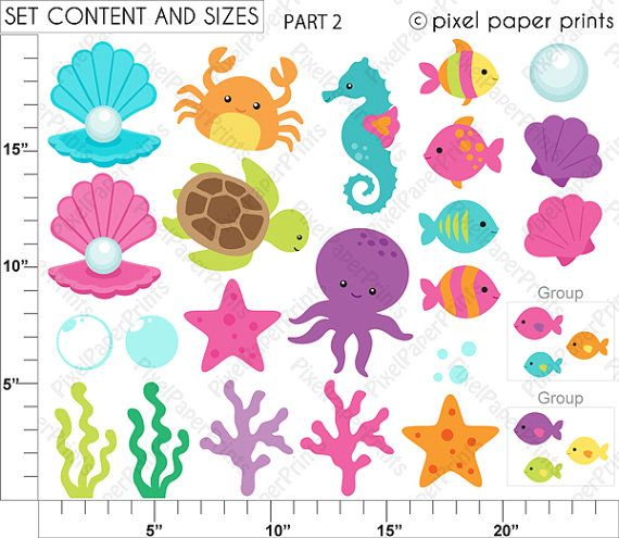 Pretty Mermaid Clipart and Digital paper set di pixelpaperprints