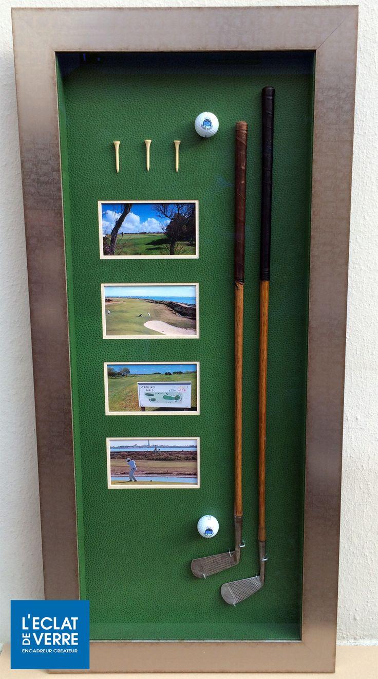 """Clubs de golf, leurs tees, les balles et quelques photos mis en boîte sur un fond """"green"""". Réalisé à l'atelier de L'Eclat de Verre de Versailles."""