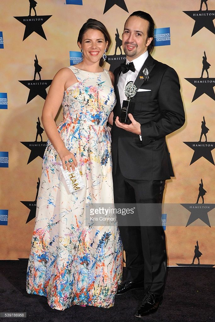 Vanessa Nadal and Lin-Manuel Miranda pose for photographers during the 'Hamilton' Tony Awards After Party at Tavern On The Green on June 12, 2016 in New York City.