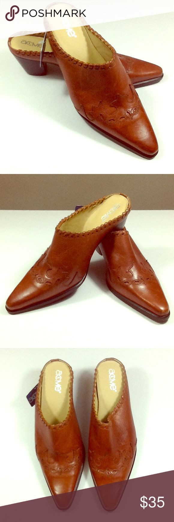 New Acme women's cowboy boot mules New with tags. Gorgeous spicy brown leather with scrolling details. Pointed toe, wrapped at vamp. Great with jeans! Acme Shoes Mules & Clogs
