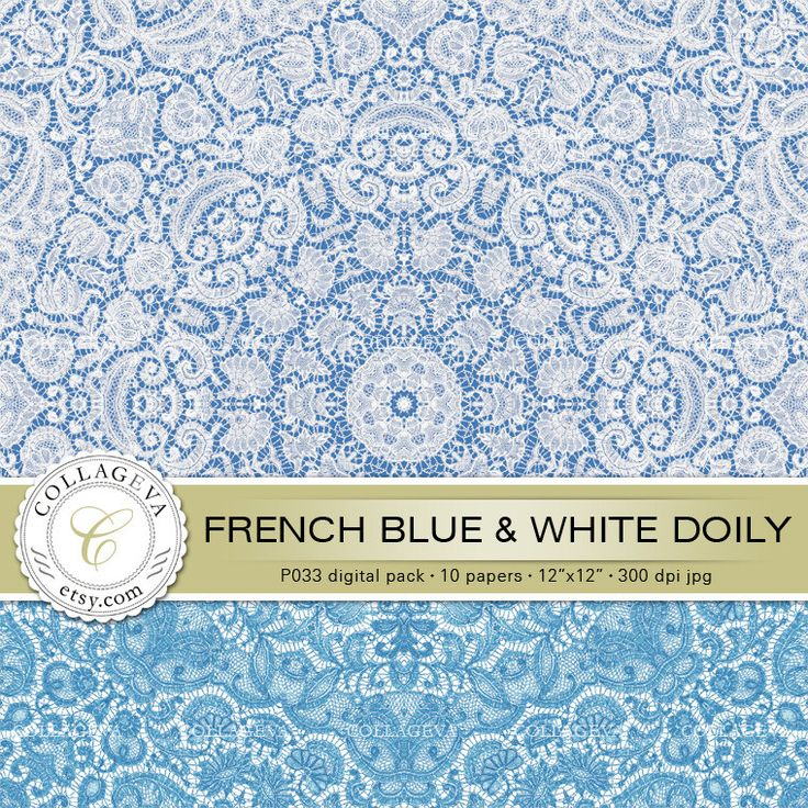"""French Blue & White Doily (P033) Digital Pack 10 Printable Paper 12x12"""" Lace, light sky baby pastel blue, Nursery wall art, Scrapbooking by collageva on Etsy"""
