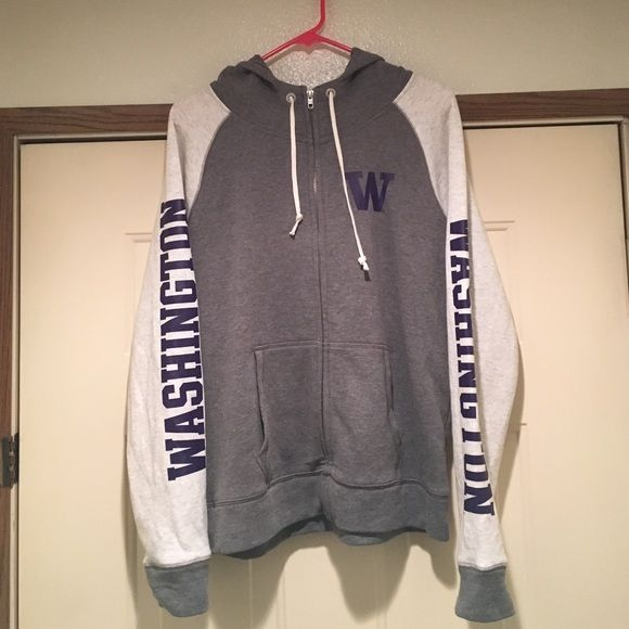 Victoria's Secret PINK UW Zip Up Hoodie Very cute and only worn once! Grey gray, white and purple. Funnel neck zip hoodie / light weight jacket. Can also fit a size XL. Washington on the side. Represent UW University of Washington! GO HUSKIES!!✊ PINK Victoria's Secret Jackets & Coats