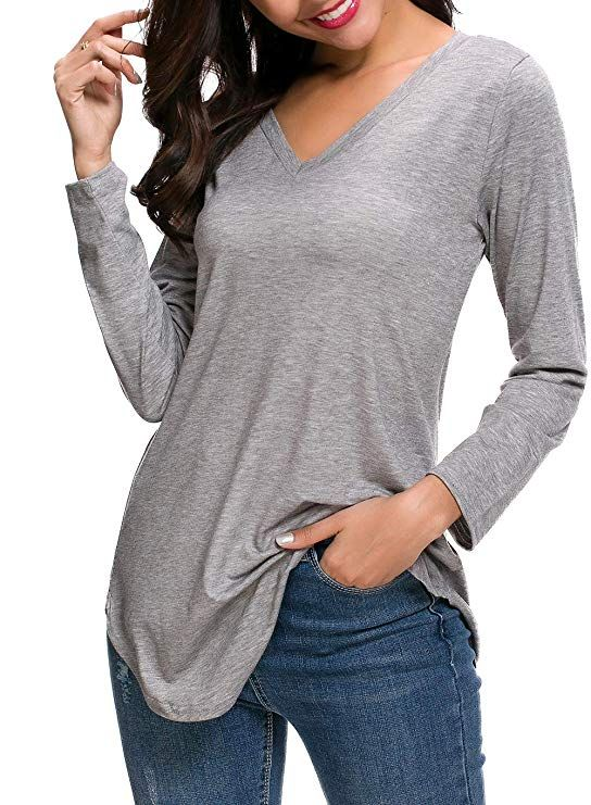 10d8ad321bc ZZER Casual V-Neck Long Sleeve Pullover Tunics for Women Fall Tops with  Side Split(Grey