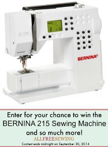 Enter to win the #NationalSewingMonth Grand Prize Giveaway that includes a BERNINA 215 Sewing Machine!