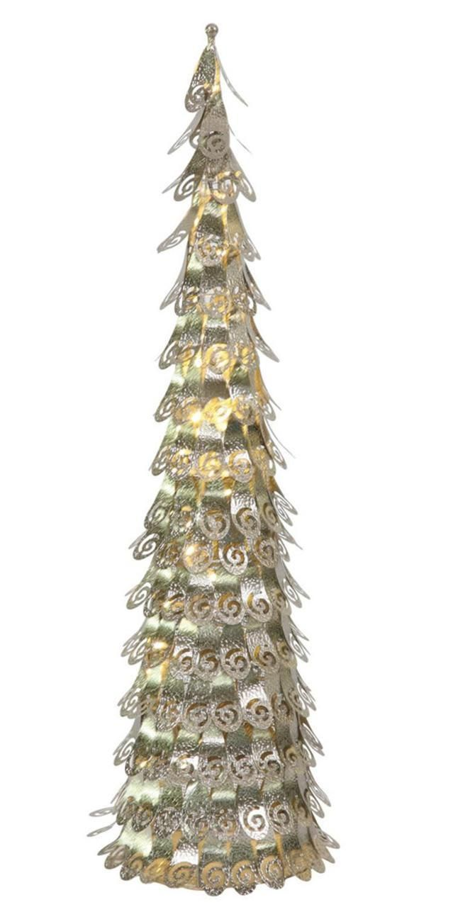 3' Pre-Lit Champagne Christmas Cone Tree Yard Art Decoration - Warm Clear LED Lights | ChristmasCentral