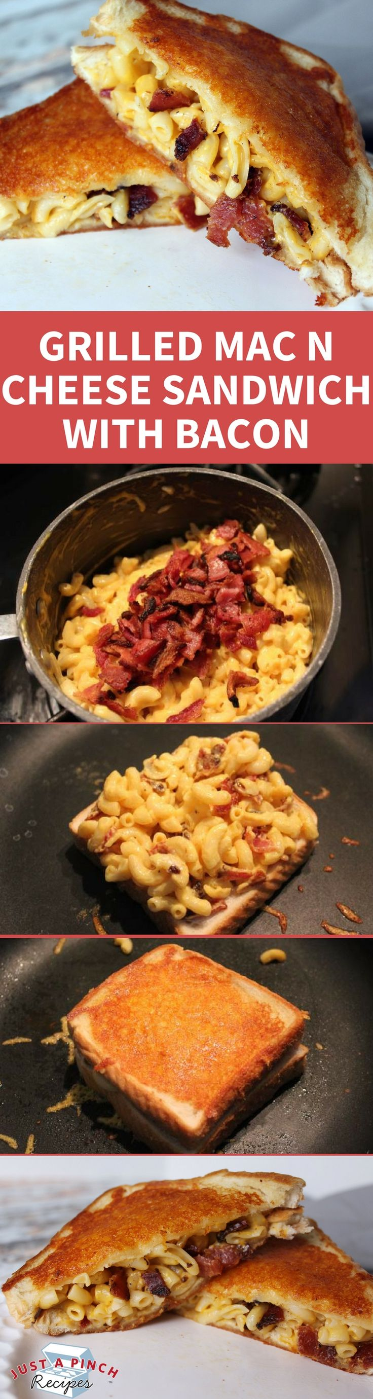 Bacon and mac & cheese rolled into one sandwich... pure decadence and deliciousness. The outside is buttery and a little crisp from the cheese. Inside, creamy mac & cheese and a smoky flavor from the bacon.