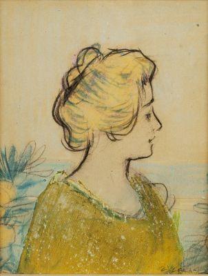 Ramón Casas i Carbó. (Barcelona, 1866 – 1932). Retrato femenino.