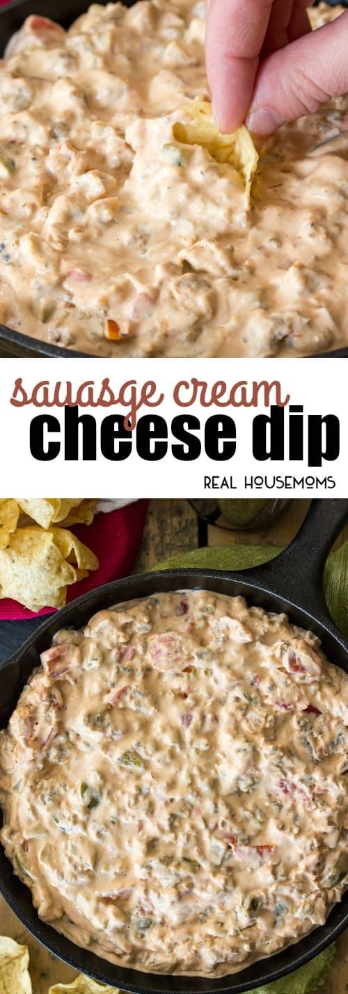 Sausage Cream Cheese Dip is an easy 3-ingredient dip recipe that's creamy, slightly spicy & guaranteed to be a hit at any party! via @realhousemoms