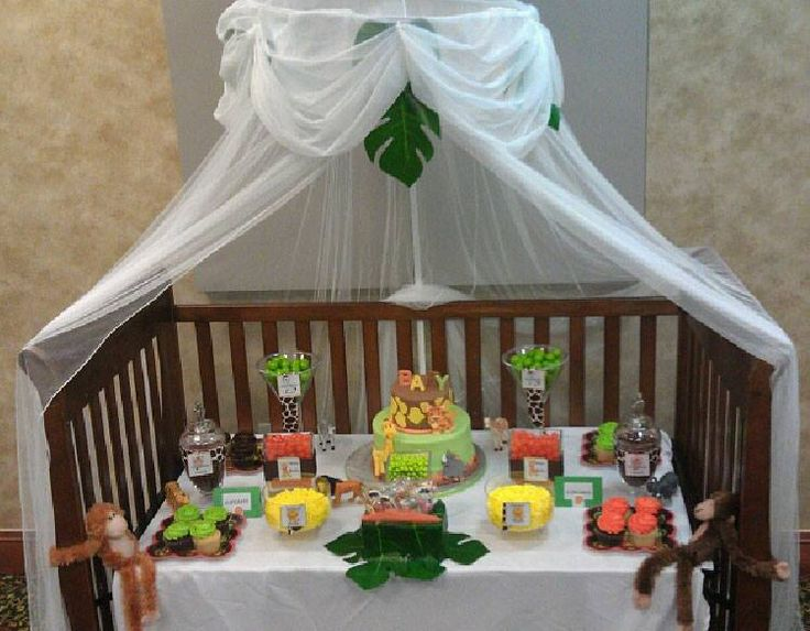 Safari candy buffet for baby shower party ideas for Baby shower party junge