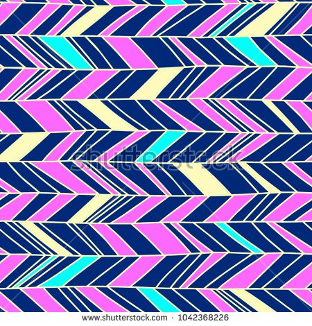 Memphis chevron seamless boho colorful hand drawn illustration vector. Trendy abstract geometric 70s, 80s, and 90s background.
