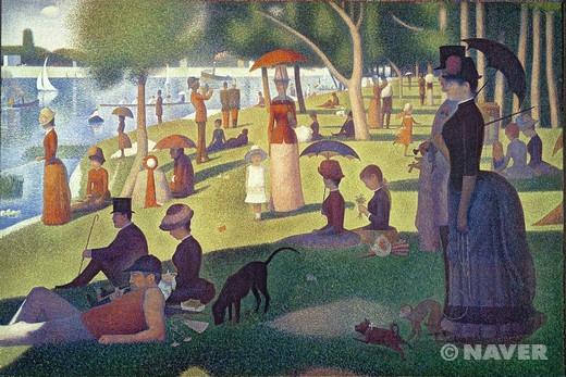 그랑드 자트 섬의 일요일 오후 (Sunday Afternoon on the Island of La Grande Jatte)  조르주 피에르 쇠라(Georges Pierre Seurat)   작품해설 ; 점묘주의의 출현을 알린 대표작 중 하나.  다양한 색채와 빛, 그리고 형태들을 점묘 화법을 통해 꼼꼼하게 표현하고 있다. 이 그림은 서로 보색 관계인 색채의 점들을 수없이 찍어서 형태를 구성한다. 이런 형태는 관객의 시선에서 하나의 색채로 합쳐져서 보인다.   감상평 ; 형태들을 점묘 화법을 통해 꼼꼼하게 표현. 녹색의 자연을 배경으로 하여 더욱 편안하고 여유로운 느낌을 더해줌.