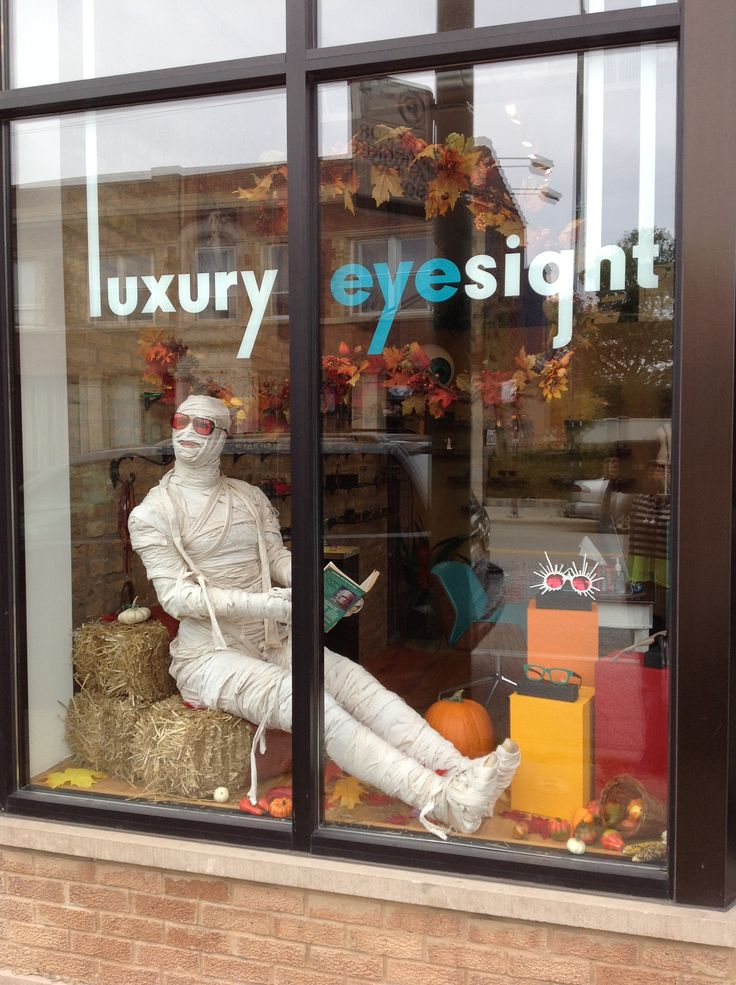 our halloween display is complete manny the mummy is sporting matsuda eyewear and reading a goosebumps book - Halloween Display Ideas