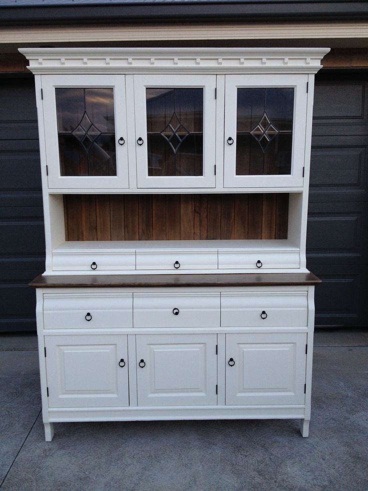 Pottery Barn Kitchen Hutch Backsplash Tiles Buffet & Hutch. Country Style. Old White Chalk Paint And ...