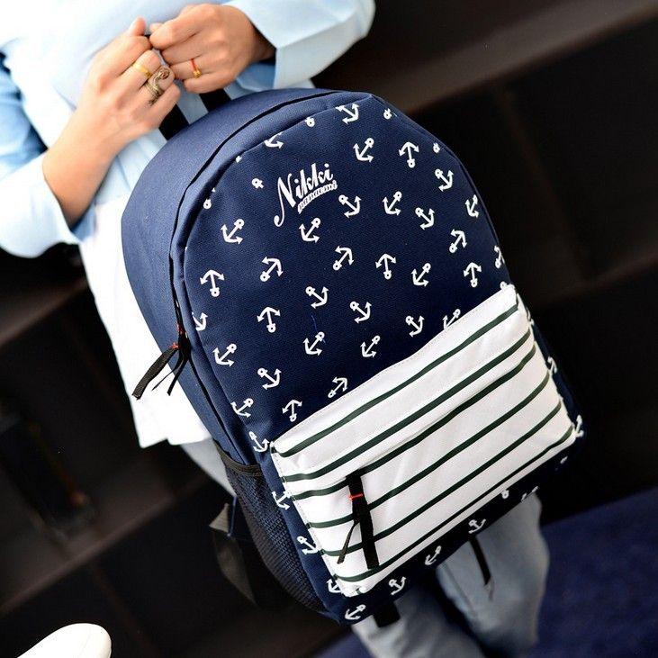Купить товарХолст полосатые флота в стиле якорь печать рюкзак мужчин студентка школа мешок свободного покроя цветок унисекс рюкзак MI607 в категории Рюкзакина AliExpress.