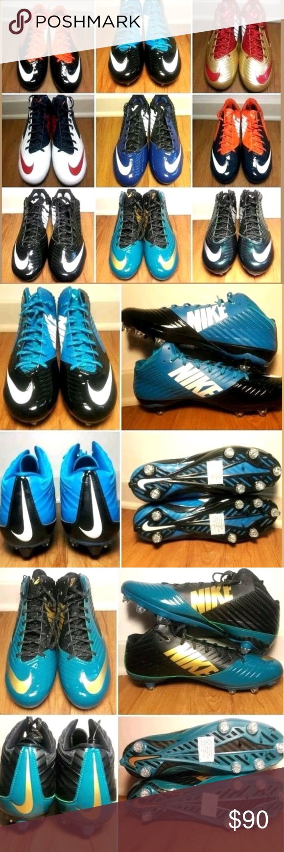 Mens Nike Vapor Speed 2014 Sport Cleats size 13-15 New Mens Nike Vapor Speed Throwback 2014 2.0 TD Low/High Football Sport Cleats  Sizes Ranching from 13 - 15  Description:  Orange Blue White 13.5 Low  Gold Red White Size 13 Low  Teal Gold Black Size 14 High  Blue Black White Size 14 Low  Red White Blue Size 13.5 High  Green Black Silver Size 14 High  Black White Size 15 Low (2 Pair)  Orange Black White Size 14 Low  Orange Black White Size 13.5 Low  Turquoise Black White Size 13 High Brand…
