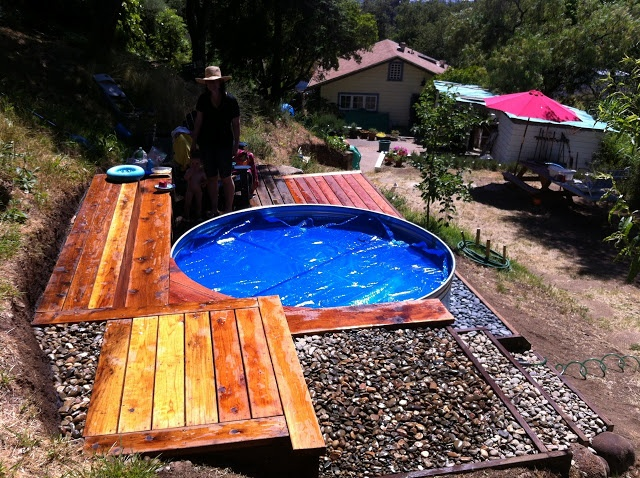 The cabin house horse trough pool inspired by kelley 39 s - How to filter a stock tank swimming pool ...