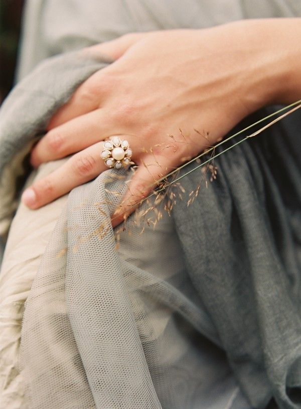 Most Repinned Engagement Rings 2. (Pictured Below) Not every engagement ring has to be a diamond! We love this vintage pearl ring from an inspiration shoot with Pearl and Godiva. Check out the entire feature for more beauty. http://www.oncewed.com/wedding-ideas/irish-wedding/