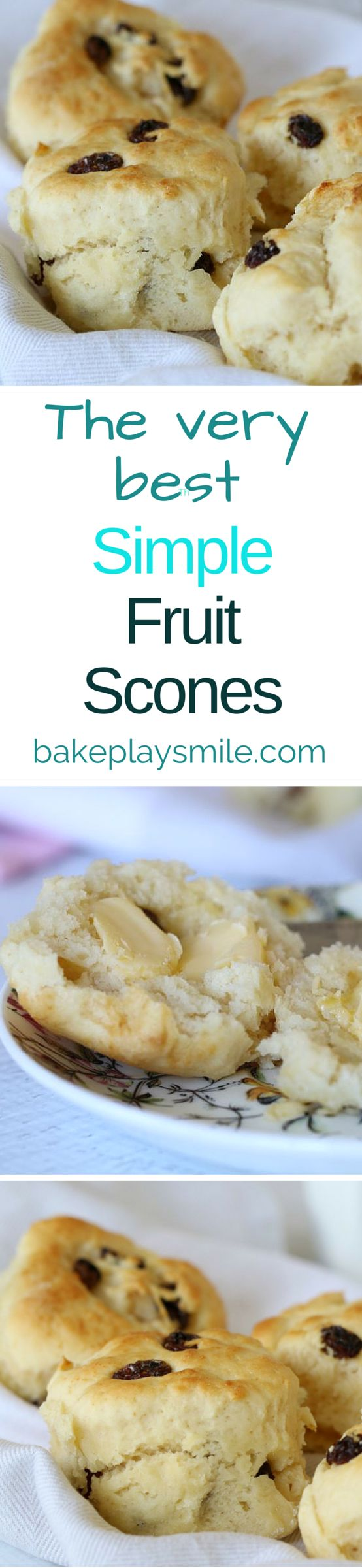Everyone needs this delicious fruit scone recipe in their life! It has 1 secret ingredient which makes them perfectly soft and fluffy every single time!!! | Bake Play Smile #fruit #scones #easy #recipe