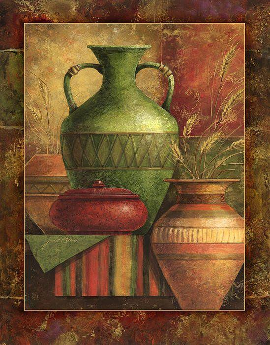 Earthen Vessels Ii Print By Janet Stever