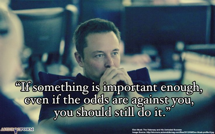 """If something is important enough, even if the odds are against you, you should still do it.""― Elon Musk"