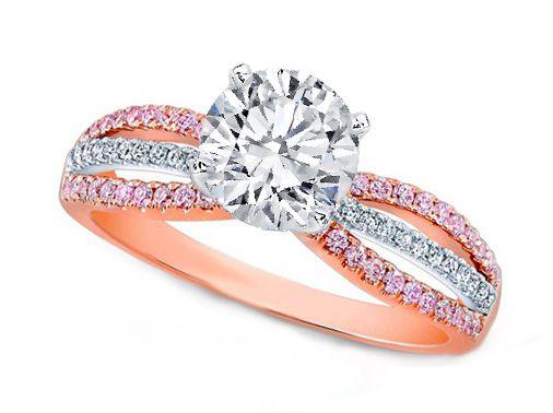 Pink Gold Engagement Ring - Three-Row Natural Pink Diamonds Engagement ring 0.72 tcw - ES1167