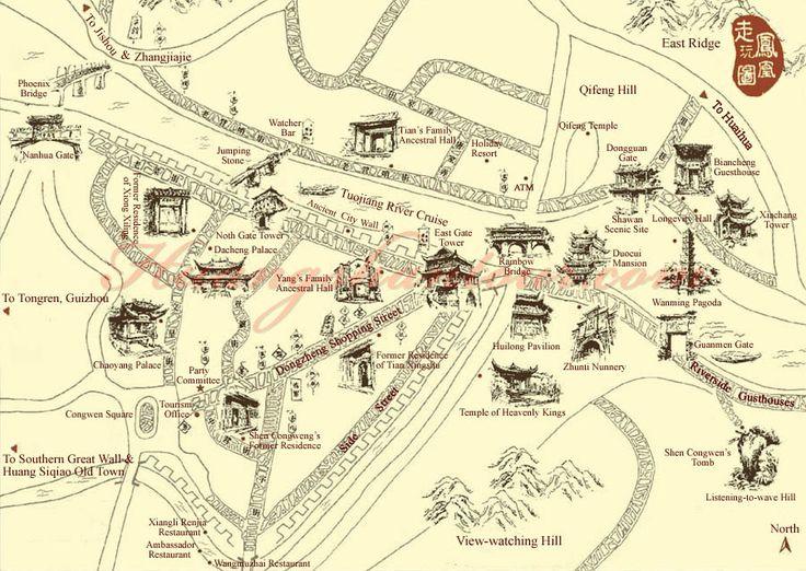 Fenghuang Map - China Maps - China Destinations - China Tour - Huangshan CITS