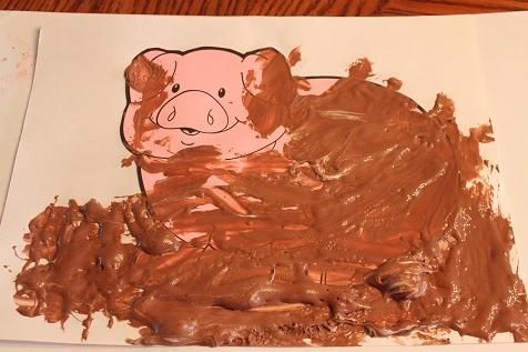 Craft for every letter of the alphabet. Pig mud made from glue, shaving cream and brown paint to make the mud dry puffy. For an edible alternative, have the kids use chocolate pudding and lick their hands.